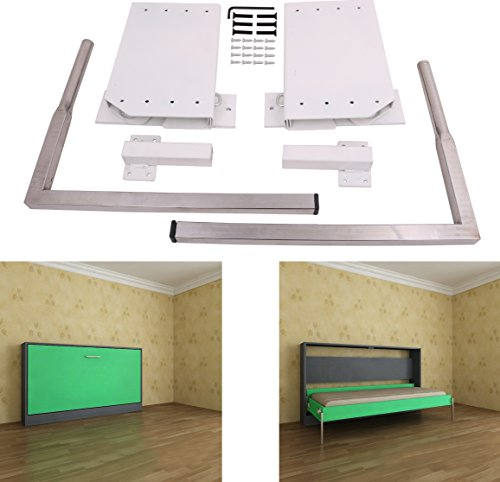 DIY Murphy Wall Bed Springs Mechanism Hardware Kit ,Horizontal Wallbed Mounting,White (Custom Metal Frames Bed)