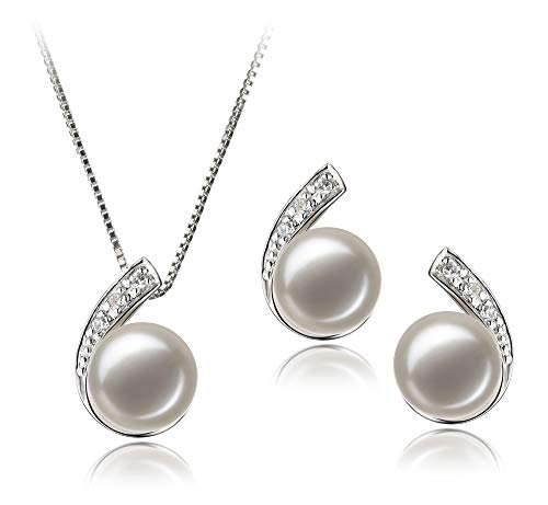 Chinese Cultured Pearl - Claudia White 7-8mm AA Quality Freshwater 925 Sterling Silver Cultured Pearl Set For Women
