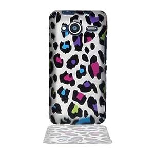"HTC EVO Shift 4G Rainbow Leopard Skin On Silver Premium Design Phone Protector Hard Back Cover Case + Bonus 5.5"" Baby Blue Phone Cleaning Cloth"