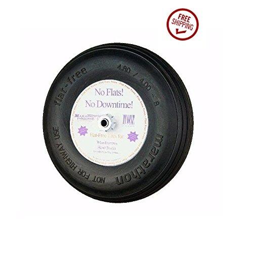 """16"""" Flat Free Cart Tire 4.80/4.00-8 Ribbed Tread 3/4"""" ID 3"""" Hub Exact OD 15.5"""" (15.5"""" Diameter Tire)"""