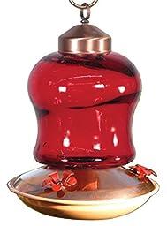 Audubon Red Glass Mini Lantern Hummingbird Feeder Model NAH6