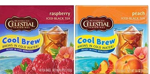 Celestial Seasonings Cool Brew Iced Black Tea 2 Flavor Variety Bundle: (1) Celestial Seasonings Raspberry, and (1) Celestial Seasonings Peach, 3.6 Oz. (40 Count) Ea.