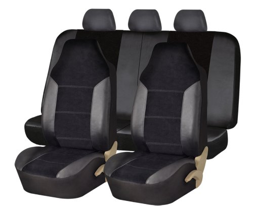 fh group fh fb103115 leather velour seat covers airbag compatible and split rear bench black. Black Bedroom Furniture Sets. Home Design Ideas