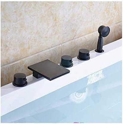 ブラックブロンズバスタブの蛇口真鍮の浴室の浴槽の蛇口3ハンドル5穴シャワーの蛇口セットデッキマウント滝浴槽タップハンドヘルドシャワーとホース