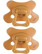Difrax Dental Fopspeen 6+ Maanden, Set van 2 met Siliconen Zuiggedeelte, Goede Acceptatie, Optimale Luchttoevoer Voorkomt Huidirritatie, Vlindervorm - Geel