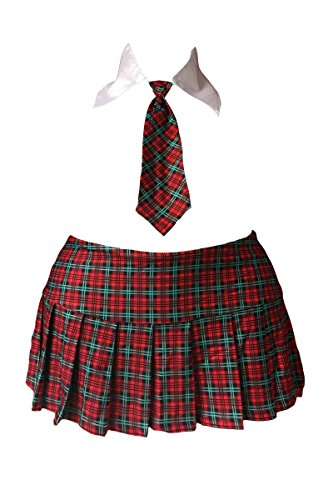 Plus Size School Girl Mini Skirt Costume Red Plaid Tartan w/Collar & Tie Cosplay (Plus Size/Queen Size) Fetish Skirt