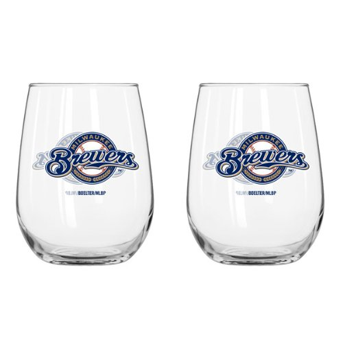 Milwaukee Brewers 16 Oz. Stemless Wine Glass 2 Pack Set - 16 Oz Stemless Wine Glass