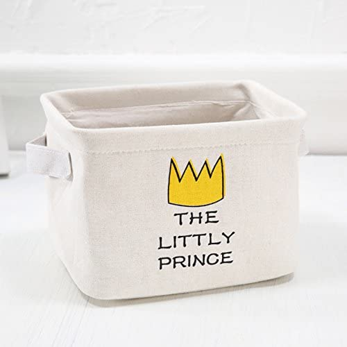 Depory Panier de rangement avec couronne dimpression et de texte le petit prince en tissu Coton et lin Beige 21/* 16/* 15/cm