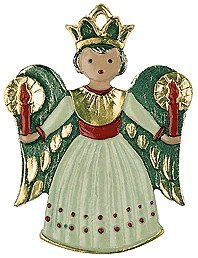 Angel with Candles - German Pewter Christmas Tree Ornament