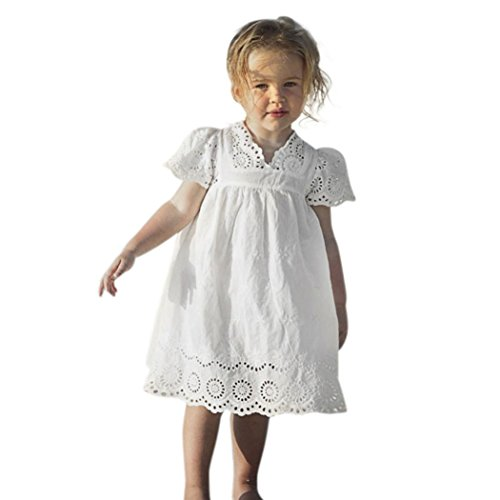 Taore Kids Baby Girls Retro Floral Print Lace Princess Hollow Dress Clothes Sundress (5Y, White)