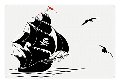 Lunarable Pirate Pet Mat for Food and Water, Silhouette of Old Sail Pirate Ship Flying Seagulls Ocean Waves Jolly Roger, Rectangle Non-Slip Rubber Mat for Dogs and Cats, Black White - Jolly Flying Roger