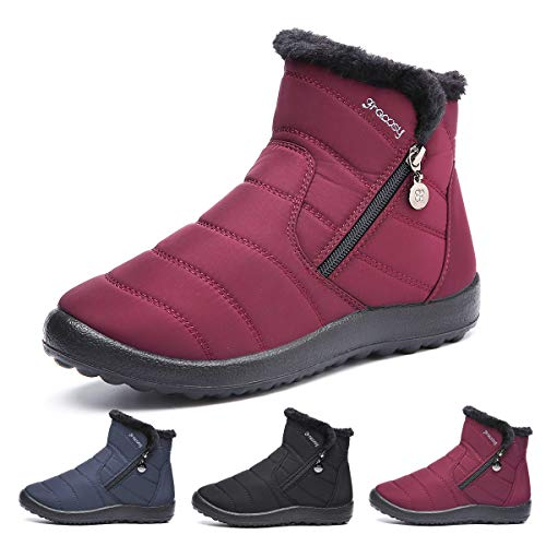 gracosy Warm Snow Boots, Women's Winter Ankle Bootie Anti-Slip Fur Lined Ankle Short Boots Waterproof Slip On Outdoor Shoes Red 11 M US