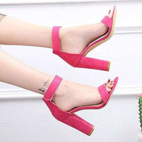 Mund High Retro Fisch Frauen Pink Strand Toe Sandalen Hot Peep Casual Block Schnalle Knöchel Heel HLHN Strap Schuhe 1vpt1