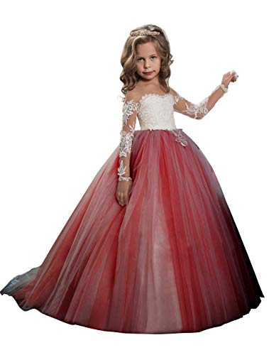 Abaowedding Lace Embroidery Sheer Long Sleeves Kids Trailing Gowns (Burgundy, 4)