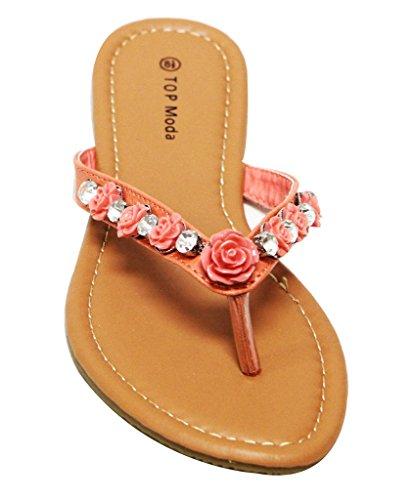 Top Moda Mt-1 Womens Rhinestone Diamant Och Blom Dekorer Flip-flip Pu Tofflor Korall