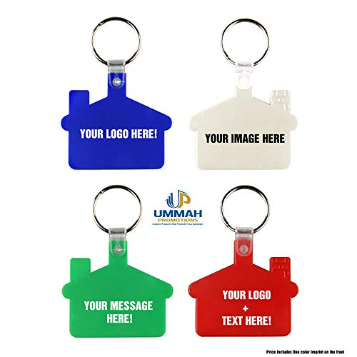 100 Personalized House Shape Soft Plastic Key Tag Printed with Your Logo or Message