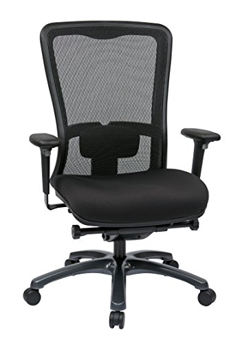 Office Star ProGrid Mesh Back and Padded Coal FreeFlex Seat, Adjustable Arms and Lumbar, Titanium Finish Base Adjustable High Back Chair, - Titanium Arm