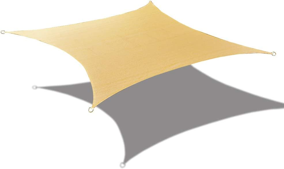 ALION HOME HDPE UV Block Curved Edge Sun Shade Sail Permeable Canopy – Square and Rectangle – Custom 185GSM 9 x 9 , Desert Sand