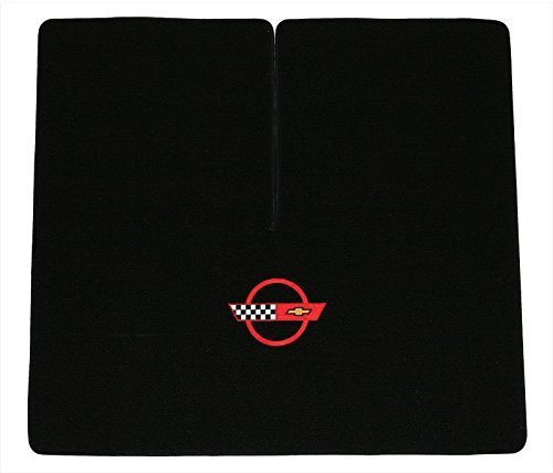 1984-1996 C4 Corvette Coupe Classic Loop Black Rear Deck Mat with Red Circle & Flags Logo