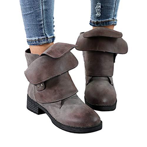 Bianco Bianco Stivale Pelle Patchwork Sintetica Blocco Tacco in 1 Moda Moda Moda Inverno Donna e Antiscivolo Stivaletti Retro Autunno Boots Comoda a Rotonda per Suola per Scarpe con wq0c8gvP