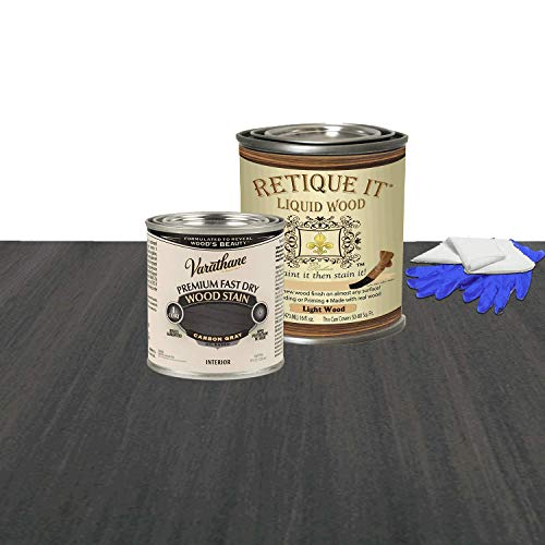 Retique It Liquid Wood - Pint Light Wood with Carbon Gray Stain - Stainable Wood Fiber Paint - Put a fresh coat of wood on it (16oz LW, Carbon Gray)