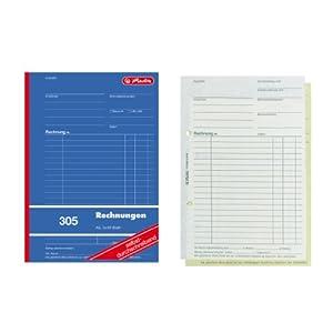 Herlitz 1932862 - Libro de contabilidad (A5, 305, 2 x 40 hojas, papel autocopiante, 4 unidades)