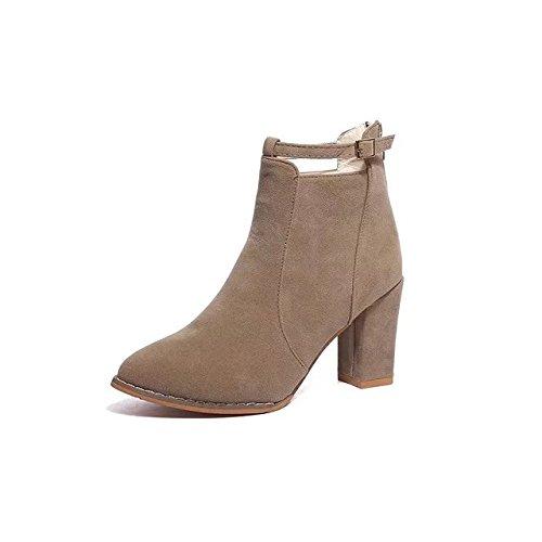 AGECC Mujer Mujer Invierno Otoño Zapatos Mujer Mujer Mujer Botas Cortas británicas Tacones Casuales Verdes Tacones Redondos Botas de Moda Botas Cortas de Ante 37 Caqui Buena Suerte para ti ab27e2