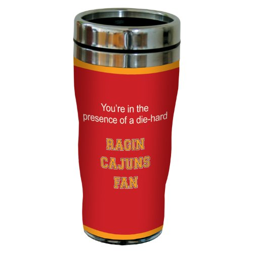 Tree-Free Greetings sg24475 Ragin Cajuns College Football Fan Sip 'N Go Stainless Steel Lined Travel Tumbler, 16-Ounce ()