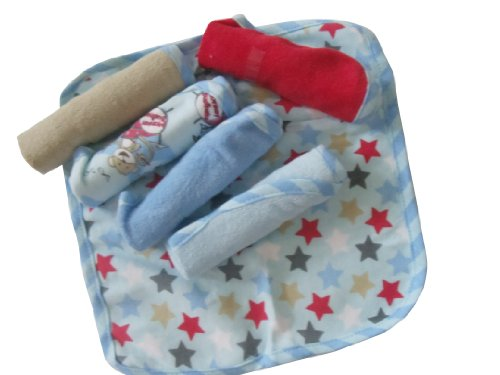 Solid and Prints ~ 6 Pk. ~ Baby Boy Washcloths ~ Stars & Monkey