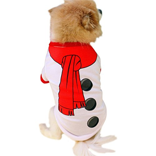 Tutuba Pet Small Dog Christmas Theme Snowman Vest T Shirt Costume Clothes