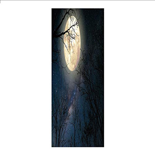 3D Decorative Film Privacy Window Film No Glue,Night Sky,Nocturnal Sky Milky Way Stars Twilight Moon Scenery with Branches,Dark Blue White and Black,for Home&Office
