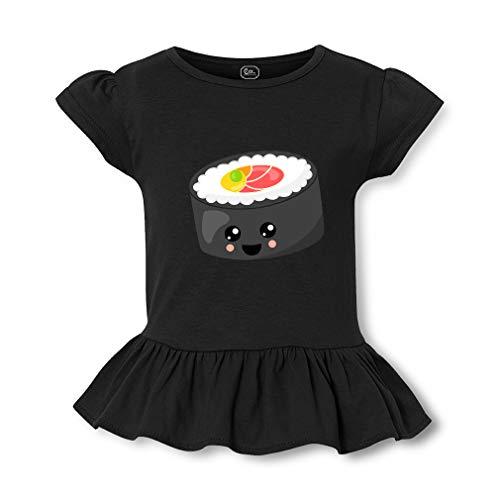 Smile Sushi Roll 2 Short Sleeve Toddler Cotton Girly T-Shirt Tee - Black, 2T -