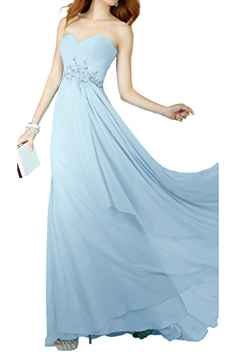 Avril Robe En Mousseline De Soie Chic, Robe Longue Empire Demoiselle D'honneur De Soirée Bustier Bleu Ciel Lumière