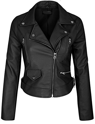 KOGMO Womens Double Breasted Faux Leather Zip Up Jacket-S-Black