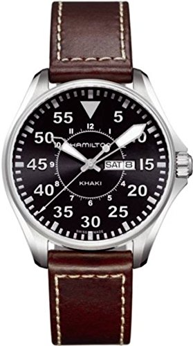- Hamilton Men's H64611535 Khaki King Black Dial Watch