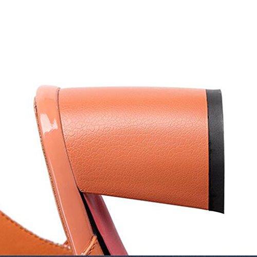 MUMA Escarpin Sandales Femmes Eté Après Air Astuce Talons Hauts Boutons Mot Thick Heel Chaussures Vert Orange ( Couleur : Vert , taille : EU36/UK3.5/CN35 ) Orange