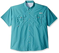 Columbia Men's Bahama Ii Shorts Sleeve Shirt, Teal, Large