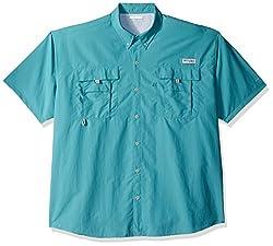 Columbia Men's Bahama Ii Shorts Sleeve Shirt, Teal, Large