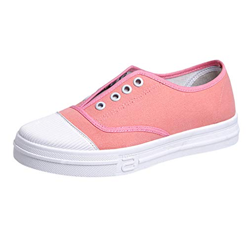 Pongfunsy Women's Canvas Shoes Casual Running Sport Breathable Flat Shoes Solid Colors Slip On Walking Espadrilles Shoe - Slip Plaid Vans On