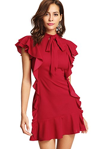 Floerns Women's Tie Neck Short Sleeve Ruffle Hem Cocktail Party Dress Red M