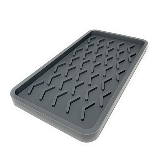 SMRTLVNG Silicone Kitchen Sink Organizer Tray, Cool Grey, 10 inches x 5.25 inches, 10.4 ounces