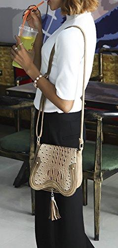 Bag Hobo PU Crossbody Flap Shoulder Saddle Khaki Women's Medium QZUnique 2 bag Tassels xYUWpv5cwq
