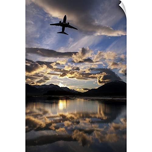 CANVAS ON DEMAND Alaska Airlines Jet Takes Off from Juneau International Airport at Dawn, Juneau, Alaska Wall Pe. (Best Ports In Alaska)