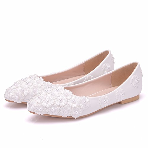 Romantic Womens Dress Soles (Sogala White Bridal Shoes for Wedding Lace Flowers Appliqued with Pearls Romantic 2018 New)