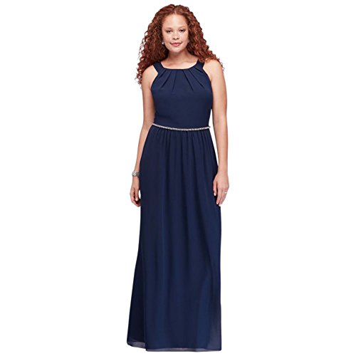 Plus Gown Size Bead Navy Bride Style Mother Pleated Round Neck Groom Waist Rqn6xEWp