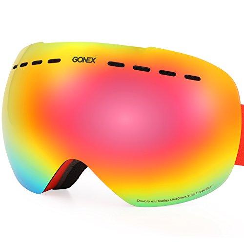 Gonex REVO OTG Ski Goggles, Anti-fog UV Protection Snow Snowboard Goggles with Box for Men & Women Frameless(Red Lens)