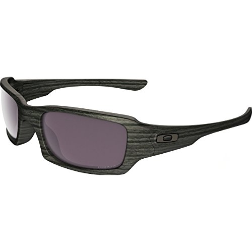 Oakley Men's Fives Squared Polarized Iridium Rectangular Sunglasses, Woodgrain, 54 - Woodgrain Sunglasses