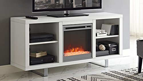 white tv stand with fireplace - 9