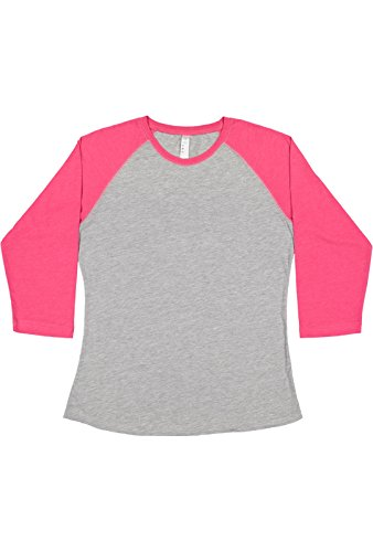 (LAT Ladies' Fine Jersey Raglan 3/4 Sleeve Baseball Tee (Vintage Heather/Vintage Hot Pink, Large))