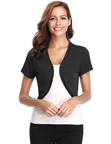 Open Knit Sleeve Short - Abollria Women Short Sleeve Bolero Shrug Light Knit Cropped Cardigan Open Front Thin Jacket